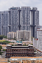 Singapore, Chinatown, view to old buildings in front of high-rise buildings, elevated view - THA000146