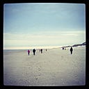 Nordic walkers on the beach of Langeoog, Lower Saxony, Germany - EVG000415