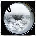 North Sea through a porthole, Lower Saxony, Germany - EVGF000418
