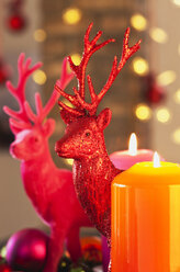 Colourful Advent wreath with candles and toy deers - GWF002652