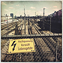Warning Sign, Hauptbahnhof, Munich, Bavaria, Germany - GSF000824