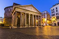 Italy, Rome, Illuminated Pantheon at night - EJWF000353