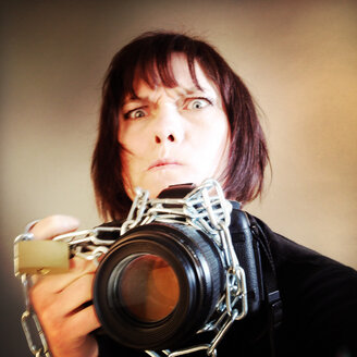 Photographer as a Prisoner, chained to her Camera, Berlin, Germany - MVC000133