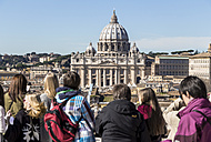 Italy, Rome, St. Peter's Basilica seen from Castel Sant'Angelo - EJW000382