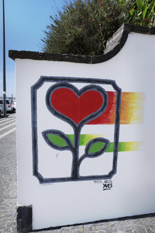 Portugal, Azores, Sao Miguel, hearts by artist Yves Decoster on a wall - ON000412