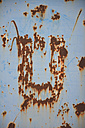 Letter U rusty and scratched on grey metal - AXF000658