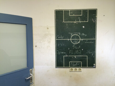 Soccer tactic board in a changing room, Munich, Germany - FL000408