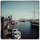 Germany, Hamburg, View of the CAP San Diego on the pier in the harbor - KRPF000370