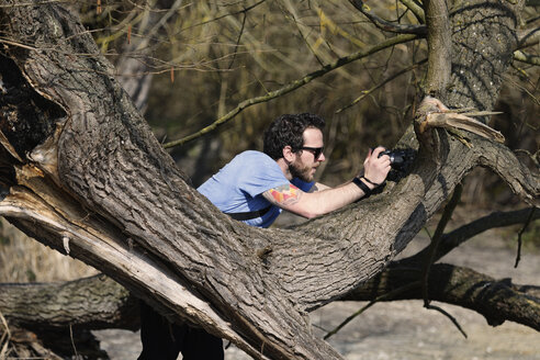 Germany, Baden-Wuerttemberg, Constance, Nature Reserve Wollmatinger Ried, Photographer on a tree - LAF000686