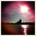 Cologne Cathedral, the river Rhine, silhouette, evening sun - JAWF000014