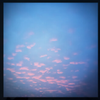 Pink fluffy clouds (Cirrocumulus) to the blue evening sky, Austria - DISF000668