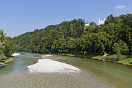 Germany, Bavaria, Upper Bavaria, Bad Toelz, Isar river, Leonhardi Chapel and Holy Cross Church - SIEF005180