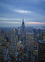 USA, New York, Manhattan, view to lighted skyline at evening twilight - JWAF000012