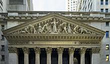 USA, New York, Manhattan, view to gable of stock exchange at Wall Street - JWAF000020