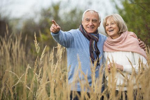 Portrait of happy senior couple having a walk - WESTF019201
