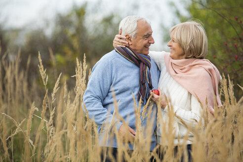 Portrait of happy senior couple having a walk - WESTF019204