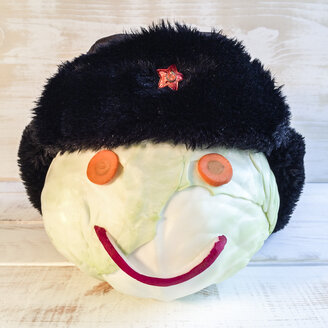 Cabbage as Smiley with Russians cap and Soviet star - DRF000606