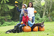 Four children in garden with pumpkins and dog - ABF000537