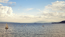 New Zealand, view to Lake Taupo with boats - WV000534