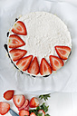 Garnishing cream cheese tart with strawberry slices, elevated view - CSTF000198