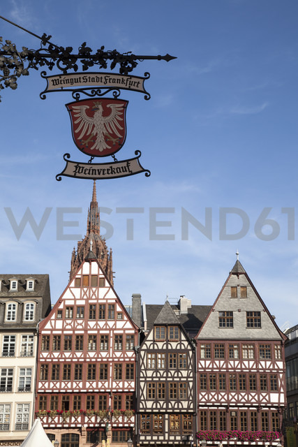Germany, Hesse, Frankfurt, Roemerberg, sign wine for sale and half-timbered houses - WI000530