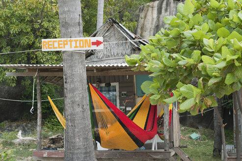 Thailand, Koh Phangan, Leela Beach, bamboo hut with hammock - CR002593
