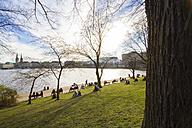Germany, Hamburg, Inner Alster Lake in spring, people on meadow at lakeshore - KRPF000404