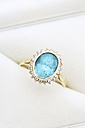 Gold ring with blue topaz and diamonds in jewel box - JAWF000020
