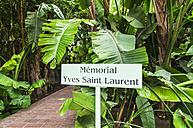 Morocco, Marrakesh, Majorelle Garden, Sign for Yves Saint Laurent Memorial - THA000203