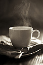Steaming tea in white tea cup on wooden table - SBDF000765