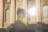 Germany, Berlin, female tourist standing in front of Bode Museum - FBF000316