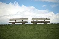 Germany, Schleswig-Holstein, Leikenhusen, two benches - JEDF000181