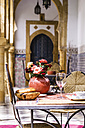 Morocco, Marrakesh-Tensift-El Haouz, laid table at hotel - THA000225