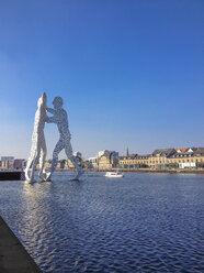 Germany, Berlin, Spree with molecule man - FBF000324