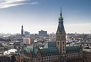 Germany, Hamburg, Cityscape from St. Petri church with town hall - KRP000420