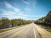 Texas Hill Country Road, Farm to Market Road 470 from Utopia to Tarpley, Texas, United States, - ABAF001309