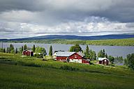 Sweden, Gaeddede, Landscape with houses at Vildmarksvaegen - BR000521