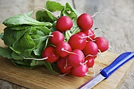 Red radishes on cutting board - HAWF000090