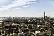 Germany, Hamburg, Cityscape with St. Michael's Church and harbour - KRP000432