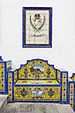 Spain, Canary Islands, Gran Canaria, bank with azulejos and emblem of Artenara - AM002149