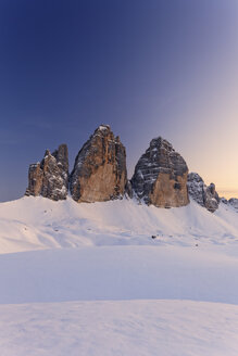 Italy, Alto Adige, Sexten Dolomites, Hochpuster Valley, Tre Cime di Lavaredo in the evening - GFF000440