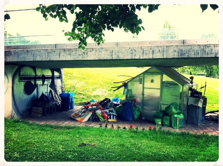 Homeless hostel under bridge, Munich, Bavaria, Germany - ED000046