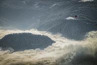 Austria, Salzkammergut, Hot air ballons over forest - STC000036