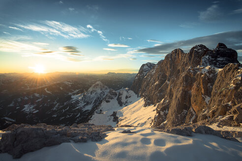 Austria, Salzkammergut, Sunset at  Dachstein mountains - STCF000052