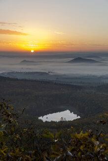Germany, Rhineland-Palatinate, Vulkan Eifel, View from Teufelskanzel to Nickenich, Kruft at sunrise - PA000603