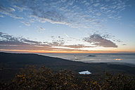 Germany, Rhineland-Palatinate, Vulkan Eifel, View from Teufelskanzel to Nickenich, Kruft at sunrise - PA000601