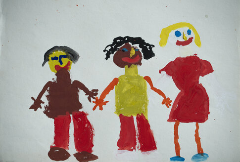 Children's drawing, three people - MYF000304