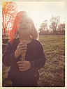 Germany, Baden-Wuerttemberg, girl with ice cream - LVF001088