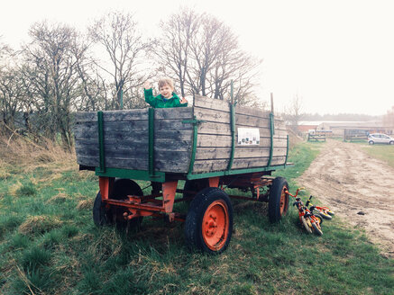 Germany, Saar mouth, little boy on carriages trailer, farm - AF000062
