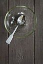 Empty glass bowl and teaspoon with leftovers of salad dressing on wooden table, elevated view - EVGF000547